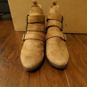 Light brown suede like booties size 6